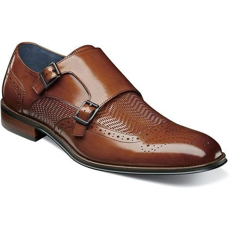 Stacy Adams Shoes Mens Tan Woven Double Monk Strap 25239-240 - click to enlarge
