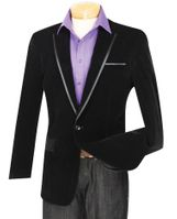 Mens Black Velvet Blazer 1 Button Jacket Vinci NB-16