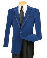 Vinci Mens Royal Blue Velvet Blazers 1 Button B-16
