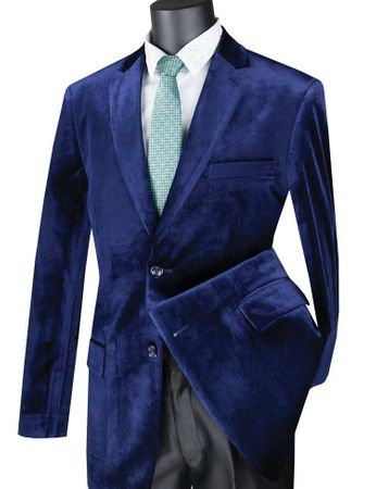 Mens Navy Blue Velvet Blazer 2 Button Vinci B-27 - click to enlarge