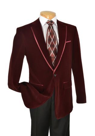 Velvet Blazer by Vinci Mens  1 Button Blazers B-16 - click to enlarge