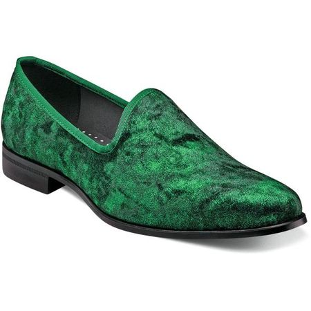 Velvet Shoes Green Velour Slip On Stacy Adams 25278-312
