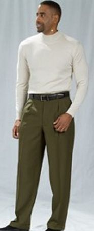 Pacelli Olive Green Pleated Baggy Fit Dress Pants 810004