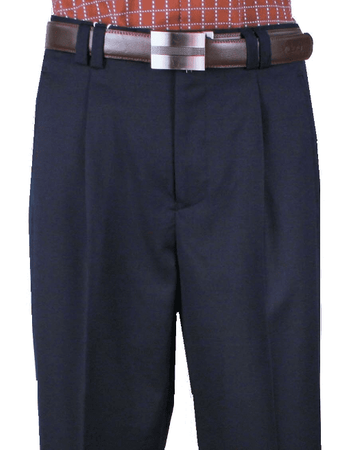 Veronesi Men's Fine Wool Wide Leg Dress Pants Navy 666101 - click to enlarge