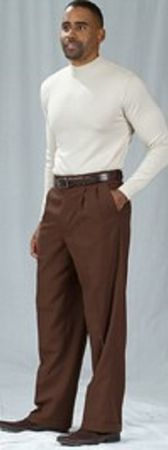 Pacelli Brown Pleated Baggy Fit Dress Pants 810002 - click to enlarge