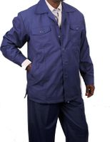 Veronesi Mens Leisure Suits Blue Wide Leg Casual Outfit Modena