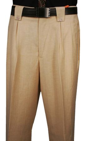 Veronesi Men's Wool Wide Leg Dress Pants Herringbone Cream 555147 - click to enlarge