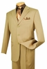 Vinci Mens Solid Color Khaki 3 Button Suit 3RS