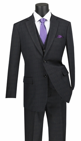 Vinci 3 Piece Suit Mens Black Window Pane NV2RW-15 - click to enlarge
