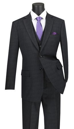 Vinci 3 Piece Suit Mens Black Window Pane V2RW-15