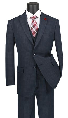 Vinci 3 Piece Suit Mens Blue Window Pane V2RW-15