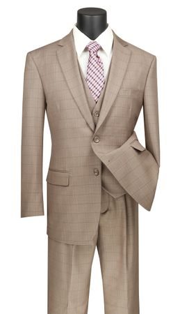 Vinci 3 Piece Suit Mens Tan Windowpane Plaid Three Piece V2RW-15