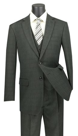 Vinci 3 Piece Suit Olive Green Window Pane NV2RW-15 - click to enlarge