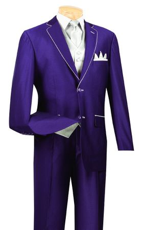 Vinci 5 Piece Purple Silver Special Occassion Suit 23SS-4 - click to enlarge