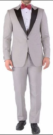 Ferrecci Slim Fit Prom Tuxedos for Men Grey Peak Lapel Luna