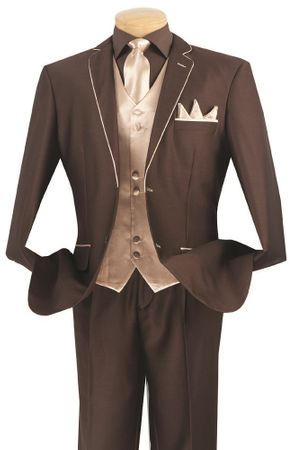 Vinci 5 Piece Brown Beige Special Occasion Suit 23SS-4 - click to enlarge