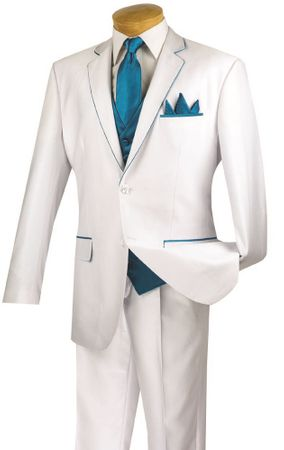 Vinci 5 Piece White Turquoise Special Occasion Suit 23SS-4