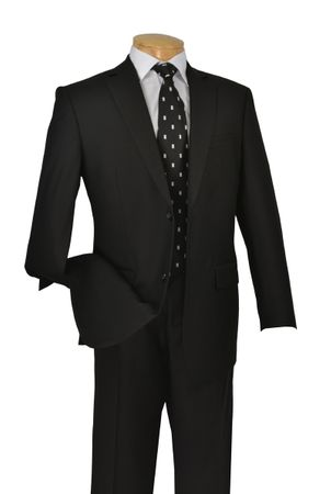Vinci Black 2 Button Italian Cut Mens Suits 2 Piece 2TR