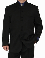 Fortini Milano Mens Black 8 Button Chinese Collar Style Suit 5905 Size 52  Reg Final Sale
