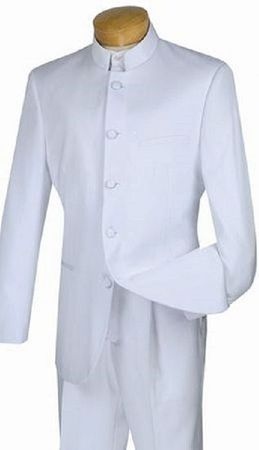 Mens White Chinese Collar Suit 5HT Size 56R Final Sale