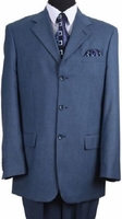 Mens Rich Navy Blue 3 Button Suit Wool Feel Fortini 5802 Size 54 Reg Final Sale