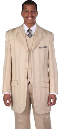 Mens Zoot Suits by Milano Tan White Gangster Bold Stripe 3 Piece 5903V Size 52 Reg Final Sale