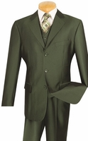 Vinci Mens Olive Green Sharkskin 3 Piece Suit V3RR-4 Size 46 Reg Final Sale