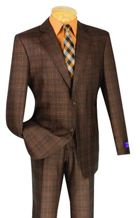 Mens Chestnut Brown Plaid 3 Piece Suit Fancy Vest Vinci V2RW-7