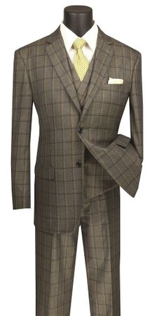 Men's Olive Windowpane Plaid 3 Piece Suit Vinci V2RW-12