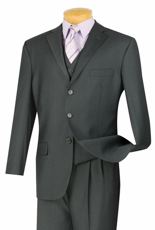 Vinci Heather Charcoal 3 Piece Suit Mens Wool Feel Super 150s N3TR-3 - click to enlarge