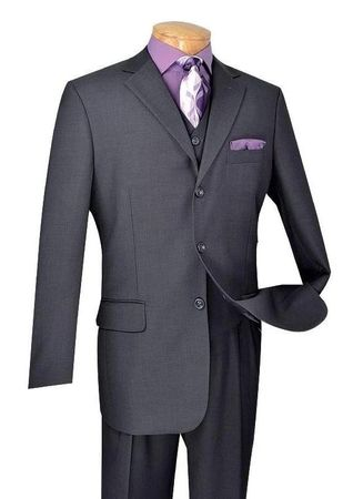 Vinci 1940s Heather Charcoal 3 Piece Suit Mens Wool Feel Super 150s 3TR-3