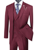 1920s Burgundy Square Plaid Mens Suit 3 Piece Vinci V2RW-13