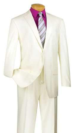 Vinci Ivory Color Suit Mens 2 Piece Regular Fit 2TR