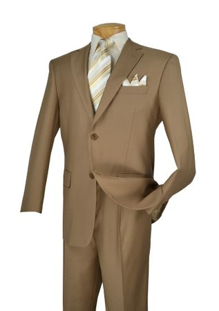Suit for Men Khaki Pleated Pants Traditional Fit Vinci 2TR