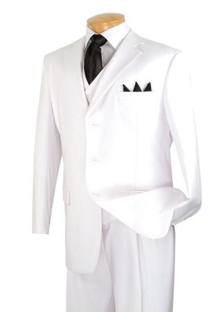 Vinci Men's All White 3 Button 3 Piece Suit Pleated Pants N3TR-3 - click to enlarge
