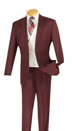 Vinci Men's Burgundy Stripe White Vest Fashion Suit V2RS-6 - click to enlarge