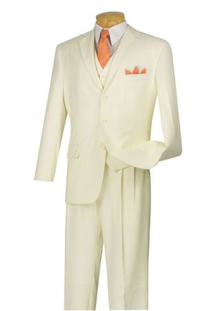 Vinci Men's Ivory 3 Button 3 Piece Suit Pleated Pants N3TR-3 - click to enlarge