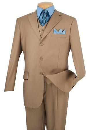 Vinci Men's Plain Khaki 3 Button 3 Piece Suit 3TR-3