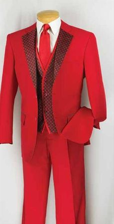 Vinci Men's Red Bold 3 Piece Entertainer Fashion Suit 23PD-2 - click to enlarge