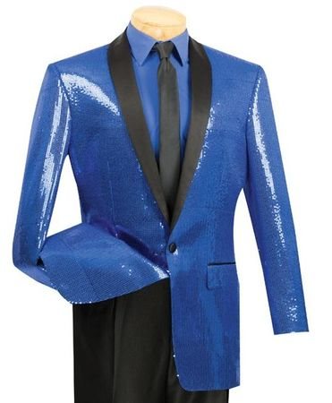 Vinci Mens Blue Sequin Jacket BSQ-1