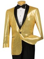Vinci Mens Gold Sequin Jacket Blazer BSQ-1