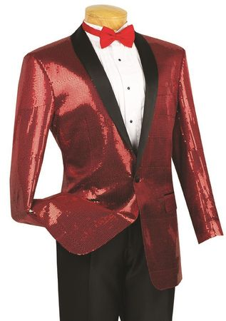 Vinci Mens Red Sequin Jacket Blazer BSQ-1