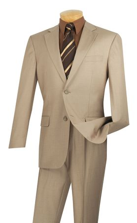 Executive Suit Men's Beige Texture Fabric Classic Fit Vinci 2LK-1