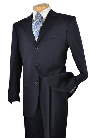 Luxxi Mens Black Big and Tall 3 Button Suit 3PP Size 58L Final Sale