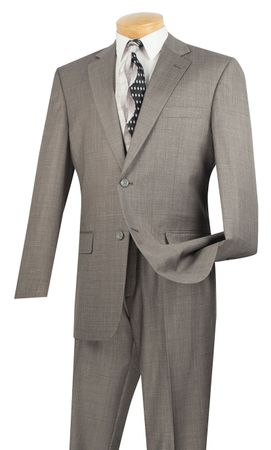 Vinci Mens 2 Button 2 Piece Suit Heather Grey 2LK-1