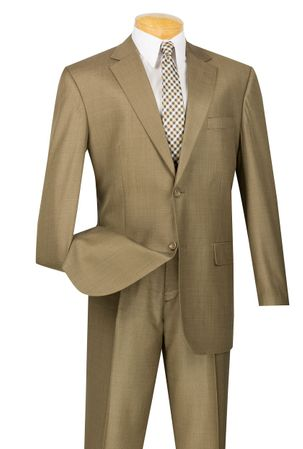 Vinci Mens 2 Button 2 Piece Suit Taupe Classic Fit 2LK-1