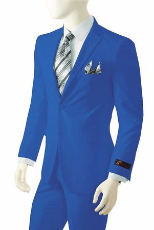 Mens Bright Royal Blue Suit Vittorio St. Angelo A72TE - click to enlarge