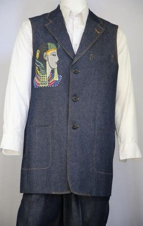 Canto Mens Blue Egyptian Embroidered Pattern Denim Long Vest Outfit 9081