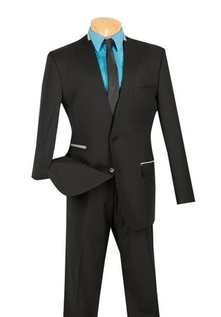 Vinci Men's Black Invisible Lapel Slim Suit S2NL-1 - click to enlarge