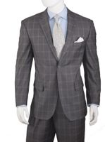 Mens Grey Square Pattern Modern Fit Suit Side Vents Vittorio A62PD